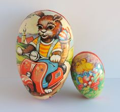 Vintage Paper Mache Easter Egg Set, Made in Western Germany (1960s) Vespa Scooter Bunny, Baby Chicks, Candy Containers, Spring Decor by thelogchateau on Etsy