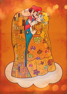 Mario & Princess Peach Gustav Klimt Mash-up!