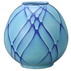 Round Flower Vessel with Blue Tint   From a unique collection of antique and modern ceramics at http://www.1stdibs.com/furniture/asian-art-furniture/ceramics/