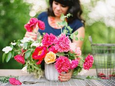Alicia Rico, bows + arrows flowers. dallas, texas. Farm Fresh Arrangement: Peony, poppy, garden rose, mock orange. Ryan Ray Photography.