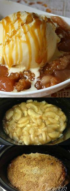 "If you're looking for an easy dessert recipe then this Cake Mix Apple Cobbler from Amanda's Cookin is about as easy as it's going to get! You just ""set it — and forget about it"". Slow Cooker Desserts, Crock Pot Desserts, Köstliche Desserts, Slow Cooker Recipes, Cooking Recipes, Apple Desserts, Crockpot Dessert Recipes, Apple Recipes, Fall Recipes"
