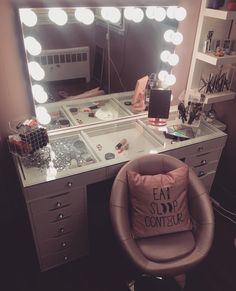 Description Get ready to slay all day in our NEW SlayStation™ XL Plus Vanity Table Top! Featuring a flawless. Beauty Room Decor, Teen Room Decor, Room Decor Bedroom, Living Room Decor, Vanity Makeup Rooms, Vanity Room, Glass Vanity Table, Cute Furniture, Glam Room