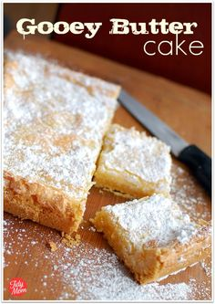 "St. Louis Gooey Butter Cake.  This is the recipe for my most requested party/tailgate dessert.  Some call it my ""Blow Cake!""  Still not sure if that's because I top it with so much powdered sugar or because it's so addictive.  It's really BAD!"