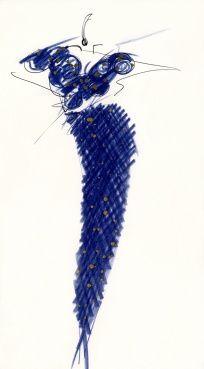 Fondazione Gianfranco Ferré / Collezioni / Donna / Prêt-à-Porter / 1989 / Primavera / Estate Fashion Sketches, Fashion Drawings, Fashion Illustrations, Blue Pigment, Fashion Design Portfolio, Audrey Hepburn Style, Gianfranco Ferre, Ferrat, Fashion Forever