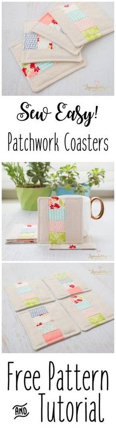 Fabric Coasters Sewing + Tutorial + Free Pattern, Patchwork Coasters, Linen Coasters, Zakka Sewing Projects, Sewing for the home, DIY Sewing Small, Mini Quilt Projects, Sewing for Beginners