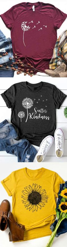 Women Print Crew Neck Casual T-shirts Teacher Shirts, Mom Shirts, Cute Shirts, Looks Style, My Style, Boho Style, Cute Shirt Designs, Making Shirts, Personalized T Shirts
