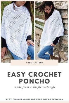 Crochet Shawl, Easy Crochet, Spiral Crochet, Crochet Tops, Crochet Cardigan, Make And Do Crew, Modern Crochet Patterns, Poncho Knitting Patterns, Single Crochet Stitch