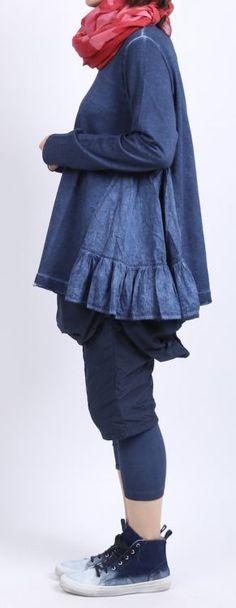 rundholz black label - Sweater mit Volants blueberry print - Sommer 2016 - stilecht - mode für frauen mit format...