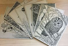 G I Woodley-Ducklington Designs-Hand Painted Postcards-Animals-Collectables-Vitg Collectables:Postcards:Animals #forcharity