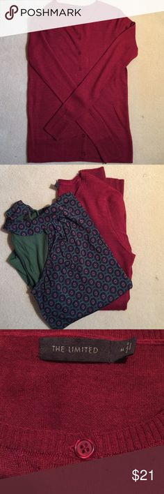 The Limited cardigan sweater The Limited cardigan sweater in a ruby red. This red is not bright, it more of a jewel tone. Full length sleeve, 52% acrylic/48% wool. This sweater will pair nicely over the jewel tone top also for sale in my closet. Pet friendly and smoke free home. The Limited Sweaters Cardigans