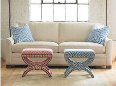 Kravet Elon Two Seat Sofa (S844-2S), fabric (30679.1), pillows (Electrify.5), Cross Stools (B5115), fabric (Electrify.712 and Electrify.5),