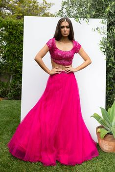 Hot Pink Blouses, Garment Manufacturing, Indian Outfits, Aries, Pink Color, Lehenga, Ethnic, Bodysuit, Formal Dresses