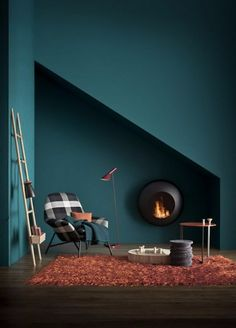Wall paint petrol, their effect and ideas for color combination .- Wandfarbe Petrol, ihre Wirkung und Ideen für Farbkombinationen Wall paint petrol, their effect and ideas for color combinations - Blue Lounge, Wall Colors, Paint Colors, Colours, House Colors, Deco Design, Design Case, Design Moderne, Wall Design