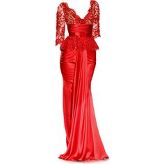 Satinee's collection - Zuhair Murad ❤ liked on Polyvore featuring dresses, gowns, long dresses, red, zuhair murad evening dresses, zuhair murad, red gown, red ball gown and red dress