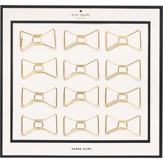 Kate Spade Bow Paper Clips - Clip papers together with style! These dainty gold paper clips feature an adorable bow shape. Comes in kate spade new york custom packaging. Cheap Stocking Stuffers, Cool Office Supplies, School Supplies, Office Paper, Gold Paper, Paper Source, Paper Clip, Up Girl, Sticky Notes