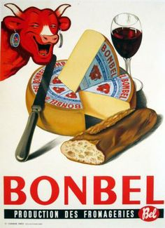 Bonbel Cheese poster by Unknown Vieille publicité vache qui rit