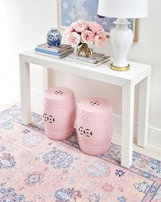 Sweet yet stunning, our Pastel Ankara rug making its moment in a foyer vignette. I can't get over the juxtaposition of the dark navy… Malm, Foyer Decorating, Interior Decorating, Interior Design, Pink Office, Marquise, Trendy Home, Bars For Home, Rug Making