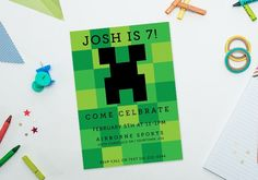 Minecraft birthday party ideas: printable Invitation  | Cool Mom Picks