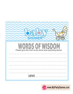 Free Printable Words of Wisdom Card in Blue Color