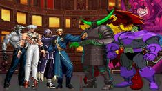 This battle is known for The King of Fighters several well-known boss villain characters, and they fight with giant/titan humanoid villain bosses in the Marv. King Of Fighters, Street Fighter Characters, Fictional Characters, Giants Team, Battle, Boss, Joker, Marvel, Anime