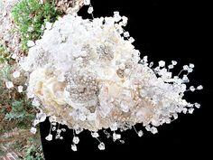 brooch bridal  bouquet ,  alternative wedding bouquet,brooch bouquet ,cascade, waterfall, teardrop bouquet,alternative bridal bouquet by thealteredchick on Etsy https://www.etsy.com/au/listing/96041404/brooch-bridal-bouquet-alternative