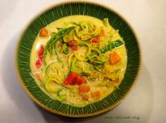 One pot coconut curry noodles. Vegan + gluten, grain & nut-free. A fast midweek meal - super tasty & spicy. Uses zucchini noodles but you can also use Slendier konjac noddles. Enjoy !