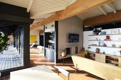 The dark woodwork added to the appreciation of the home's Hudson River views.