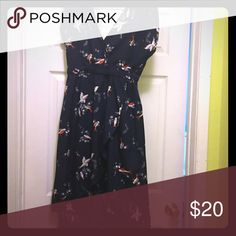 Angie high-low bird dress. Navy blue Angie dress with birds. Deep V in front and back. Faux wrap skirt, high-low hem. Angie Dresses High Low