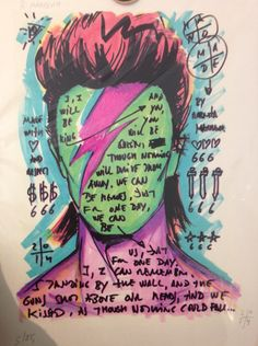 Amazing piece of artwork found in a modern day museum in Barcelona. Lyrics to 'Heroes'. RIP David Bowie ⚡️⚡️⚡️