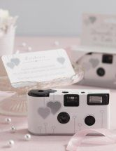 White Disposable Camera with Silver Pretty Hearts - good for wedding anniversary parties