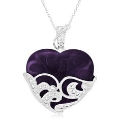 $14.99 - Amethyst Glass Heart-Shaped Pendant in Sterling Silver