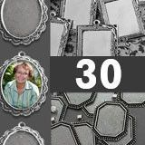 30 Pack Photo Jewelry Elegant Edged Pendants Variety Home Business Kit