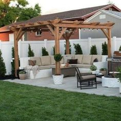 48 backyard porch ideas on a budget patio makeover outdoor spaces best of i like this open layout like the pergola over the table grill 37 Small Backyard Patio, Backyard Patio Designs, Outdoor Pergola, Backyard Pergola, Pergola Plans, Backyard Landscaping, Outdoor Spaces, Pergola Ideas, Patio Ideas