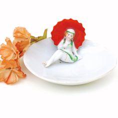 Bathing Beauty Figurine Pin Dish Flapper Girl Figure Jewelry Dish Beach Girl Orange Umbrella Nippon by WhimzyThyme on Etsy #bathingbeauty #artdeco #flapper