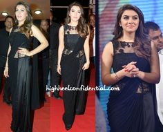 Wearing a beaded sari gown, Hansika attended the audio launch of her Telugu movie Power in Hyderabad. If the skirt portion was all chiffon instead of the half chiffon/half satin, I probably would have liked the look.  As is, the skirt is very distracting which is a bummer because waist-up Hansika looked good.