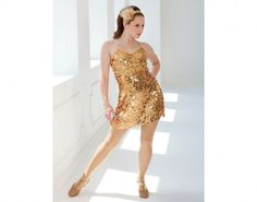 Ref: RV0243  Nylon mesh with gold paillettes dress is fully lined with matching spandex leotard. Spandex shoulder straps can be tied halter-style or around keyhole at back for a versatile look.