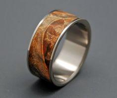 """Fan the Flame"" golden box elder wood wedding ring by MinterandRichterDes on etsy $197"