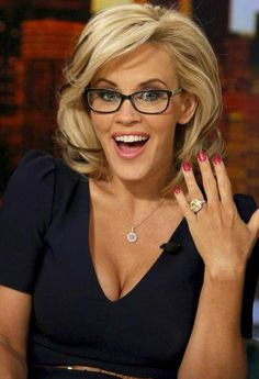 In an interview with Good Day NY, Jenny McCarthy explained why she really left ABC's The View. Jenny McCarthy, said she Jenny Mccarthy Hair, Celebrity Engagement Rings, Engagement Celebration, Fashion Eye Glasses, Girls With Glasses, Celebs, Celebrities, Up Girl, New Hair