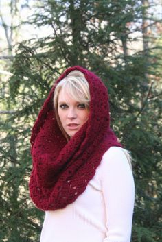 Deep Red  Textured Cowl Scarf Hood Scarf by crochetgallery on Etsy, Crochet Fashion