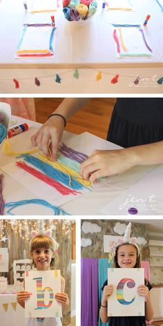 Unicorn Birthday Party Ideas - Rainbow Yarn Art Activity - JenTbyDesign.com