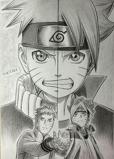Naruto and Boruto - Fan art Naruto Shippuden Sasuke, Anime Naruto, Fan Art Naruto, Manga Anime, Menma Uzumaki, Anime Ninja, Naruhina, Naruto Sketch, Naruto Drawings