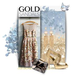 """golden"" by collagette ❤ liked on Polyvore featuring Moulinette Soeurs, Aranáz, MICHAEL Michael Kors, michaelkors, goldsandals, goldjewelry and anthropolgie"
