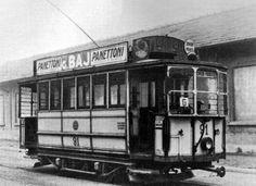 Pubblicità del Panettone Baj su un tram milanese di fine 800 Milanesa, Urban, History, World, Transportation, Art, Historia