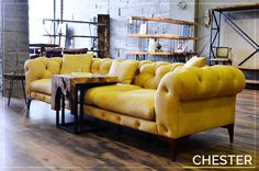 Bugatti Chester& warm ambiance with the yellow ambience of your home - - Farmhouse Living Room Furniture, Living Room Modern, Living Room Decor, Living Rooms, Drawing Room Furniture, Couch Furniture, Tufted Sofa, Sofa Pillows, Blue Distressed Furniture