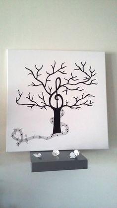 """Arbre à empreintes thème musique """" la mélodie du bonheur """" : Décorations murales…"""