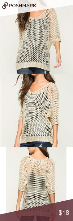 """❤NEW! Dripping Cold Sweater❤ New with Tags 💋A twinkling metalic lurex-accented sweater with an open weave body, dolman sleeves and ribbed trimming. Longline silhouette. Three -quarter sleeves.  Sheer.  Color: Ivory 🍁Measures approx. 27"""" length , 38-42"""" chest, 36 waist, 13"""" sleeve length  🍁65% Acrylic, 30% Cotton, 5% Metallic 🍁Dry clean only 🍁Model is wearing size S/M 🍁Model is 5'9"""", 32"""" bust, 23"""" waist, 35"""" hips ✔All Reasonable Offers Accepted  ✔Bundle Discounts!💲💲💲 ❌NO Lowballing…"""