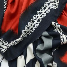 Valentina - Exclusive Asian Eye design on 1005 organic Mulberry silk with classic bold black and red geo design and detailed border.
