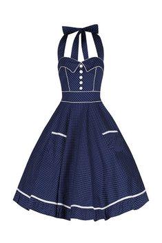 Navy Blue and White Polka Dot Vintage Swing Dress