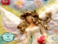 Guardian Angel with Joyful Flowers. 8 x 10 inches Unframed Needle-Felted Wool Relief Picture by Castle of Costa Mesa by Castleofcostamesa on Etsy https://www.etsy.com/listing/223411052/guardian-angel-with-joyful-flowers-8-x
