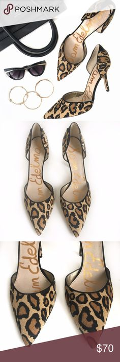"""NWOT Delilah Calf Hair Animal Print dÓrsay Pump An instep-baring d'Orsay cut adds to the allure of a pointy-toe pump cast in gorgeous genuine calf hair. Genuine calf-hair (China) upper/synthetic lining and sole. 4""""heel. The shoes have never been worn but the soles do have some scratches and discoloration (purchased like that). Sam Edelman Shoes Heels"""
